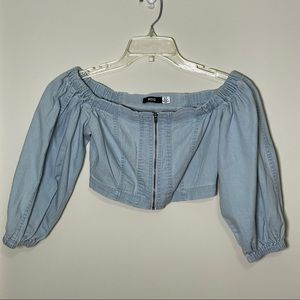 Urban Outfitters Jean Zip-Up Crop Top